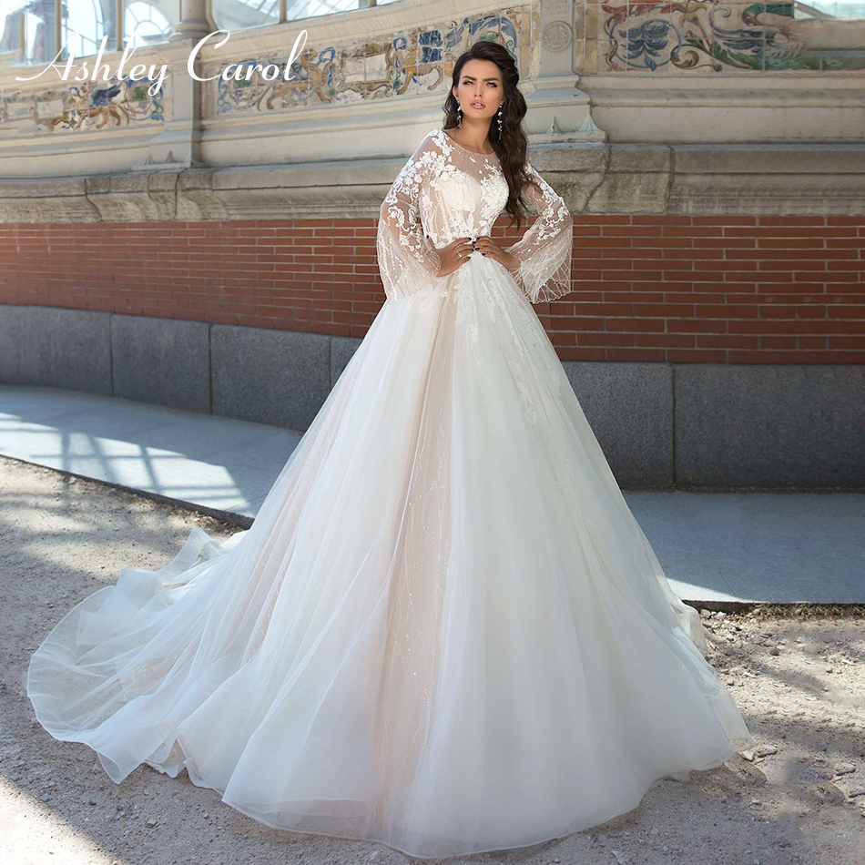 Ashley Carol Illusion Scoop Long Sleeve Backless Wedding Dress 2019 New Appliques Court Train Bride Dress Princess Wedding Gowns