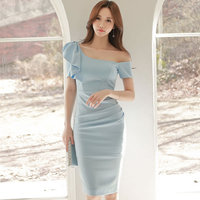 Sexy One Shoulder Strapless Ruffles Short Sleeve Bodycon Vestidos Women Midi Bodycon Party Dresses Slit Going Out Cloth