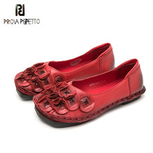 Prova perfetto 2019 Unique Design Popular Woman Flats Genuine Leather Shallow with Flower Comfort Soft Leather Round Shoes