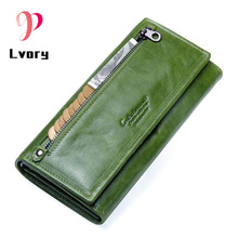 цены New Women Wallets Genuine Leather Wallet Women Purses  Coin Clutch Women's Purses With Zipper Famous Brands Card Holder Wallet