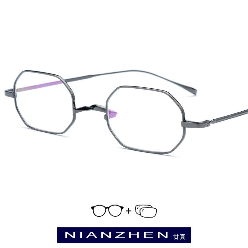 Korrektionsbrillen GemäßIgt Reinem Titan Brillen Rahmen Frauen Kleine Vintage Platz Myopie Optische Brillen Für Männer Ultra Light Brillen 9119 Bekleidung Zubehör