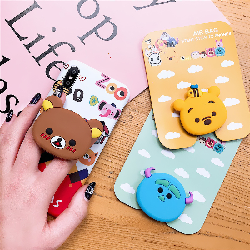 Wholesale Universal Mobile Phone Stretch Bracket Cartoon Air Bag Phone Expanding Phone Socket Stand Finger Car Phone Holder