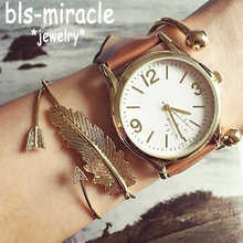 Bls-miracle Bohemian Feather Word Bracelets & Bangles Gold Silver Color Crystal Cuff Charm Multilayer Bracelet Femme Party Gifts(China)