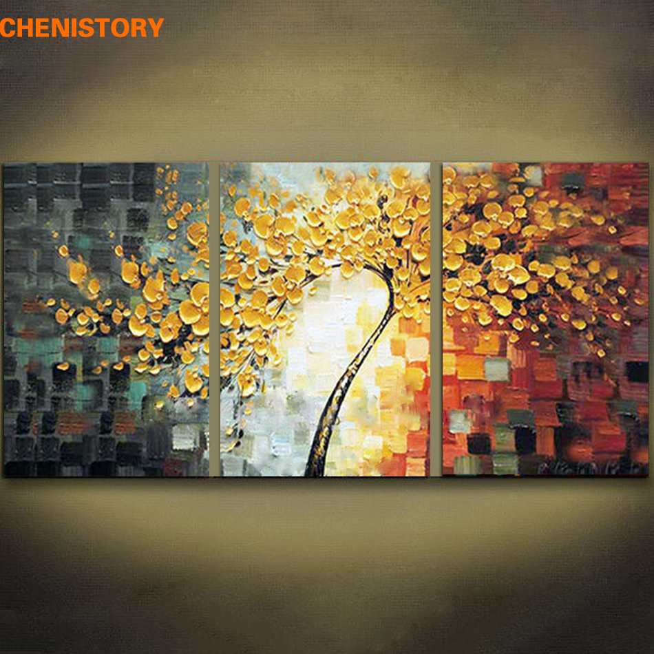 Unframed 3 Panels Yellow Rich Tree Palette Knife Painting Hand Painted Home Decor Large Oil Paintings Modern Abstract Wall Art