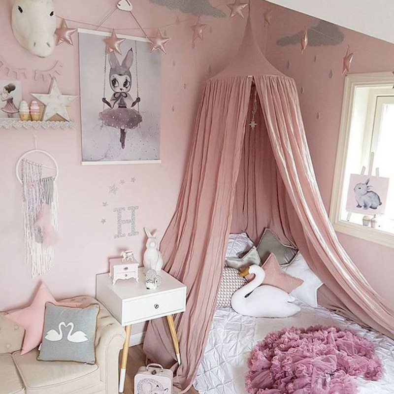 Cotton Baby Crib Nets/mosquito Nets Anti Mosquito Princess Canopy Bed Valance Kids Room Decoration Baby Bed Round Tent Curtains 1pcs summer mosquito screens anti mosquito nets household doors and windows decoration screen mesh can be customized your size
