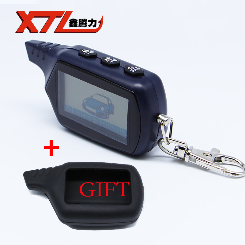 Russian Version Keychain B9 Starline LCD Remote Controller For Two Way Car Alarm Starline B9 Twage Keychain alarm auto  b9 case keychain housing body with logo for 2 way lcd remote control key fob chain twage starline b9 b6 a91 a61