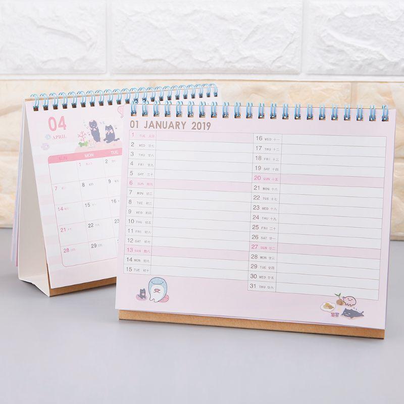 Office & School Supplies 17*16 Cm Kreative Schreibtisch Stehenden Papier Organizer 2019 Jahr Kawaii Cartoon Katze Kalender Zeitplan Planer Notebook