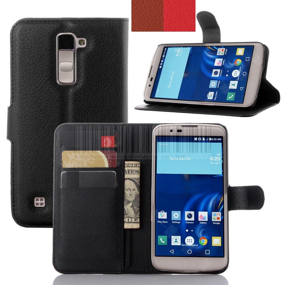 Phone Case For LG K10 Luxury Leather Card Slot Holder Wallet Flip Case Stand Cover Skin Lychee Grain For LG K10 / M2 F670