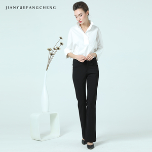 Image 5 - Women Cotton White Blouse POLO Shirt Stand Collar Nine Quarter Sleeve Plus Size Elegant Office Ladies Formal Dress Working Tops
