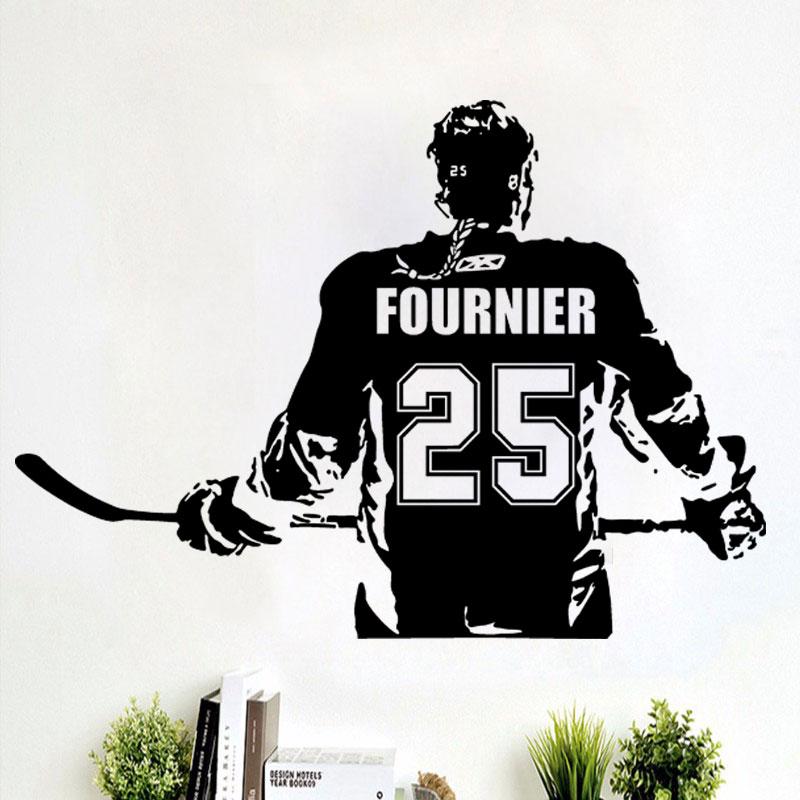 Hockey Wall Decal Large Decal Custom Name Decal Boys: Hockey Girls Decal Wall Art Custom Women Girls Ice Hockey