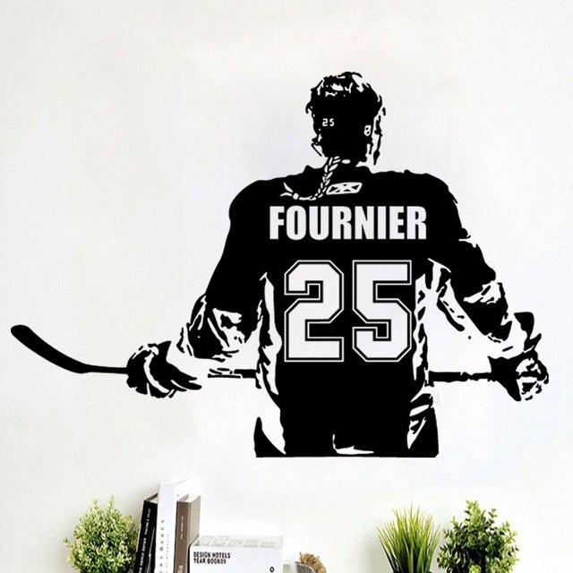 Hockey girls decal wall art custom women girls ice hockey player choose jersey name