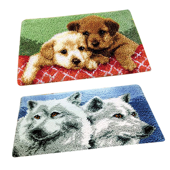 2 Sets Latch Hook Rug Kits - Printed Wolf Dogs Pattern Pillows Cushion Making Package for Beginners Childrens Adults