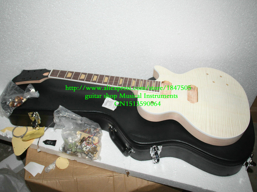 Custom Shop one piece mahogany neck Unfinished Electric Guitar Kit With Flamed Maple Top with hardware  with case hot sale top quality white lp custom guitar with golden hardware electric guitar free shipping white color