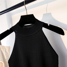 Summer Women's Knitting Halter Off-shoulder Tank Crop Tops Female Bodycon Knitted Camisole Sleeveless Short Tee shirts For Women