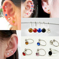 2pcs Ear Clip Cuff Crystal Rhinestone No Piercing Silver Plated Earrings for Women Fashion Jewelry