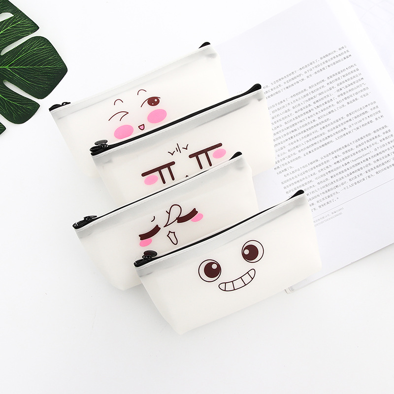 Creative cute pencil case funny expression Kawaii pen box student school stationery bag office stationery gift in Pencil Cases from Office School Supplies