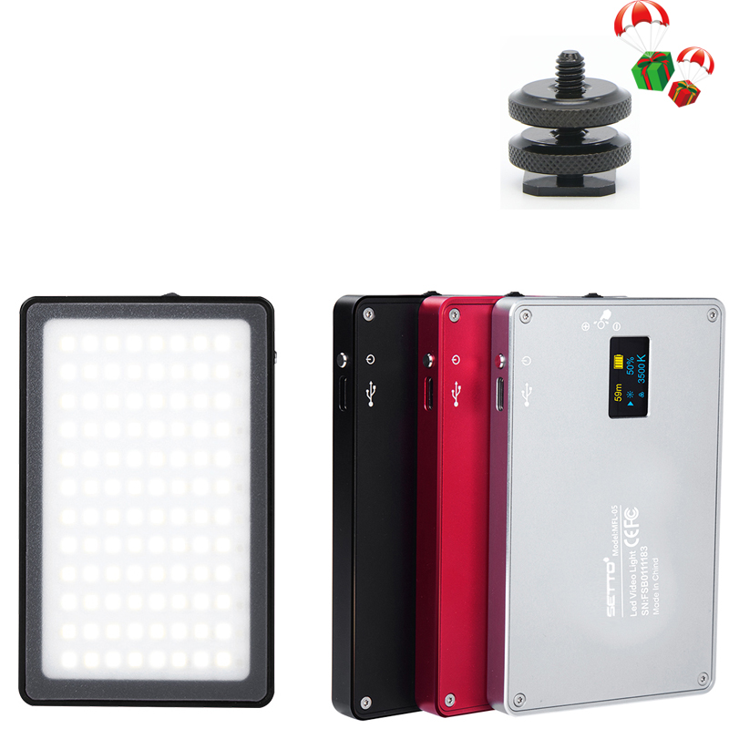 Professional Mini LED Video Light 3500K 5700K Stepless Output Control Rechargeable LED Panel on Camera for