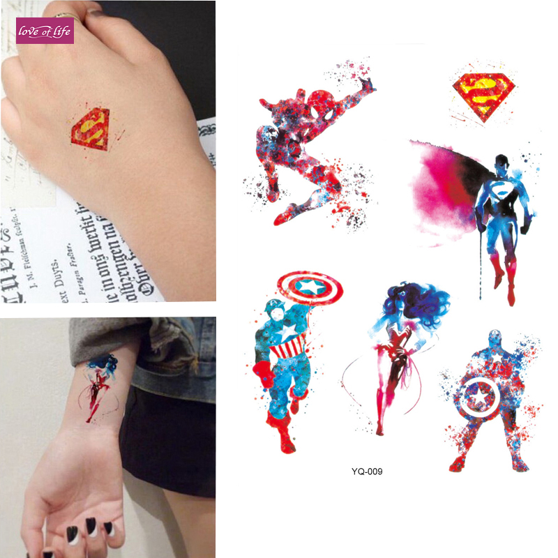 1pcs Avengers Colorful Spiderman Temporary Tattoo Cartoon American Captain Hulk Hawkeye Body Art Flash Tattoo Stickers