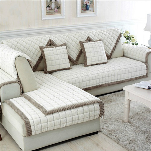 Sectional Couch Covers.Us 12 58 10 Off White Grey Plaid Sofa Cover Plush Long Fur Slipcovers Fundas De Sofa Sectional Couch Covers Fundas De Sofa Sm5682 Free Shipping In