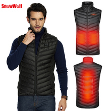 SNOWWOLF 2019 Men Outdoor USB Infrared Heating Vest Jacket Winter Carbon Fiber Electric Thermal Clothing Waistcoat Tactical Vest