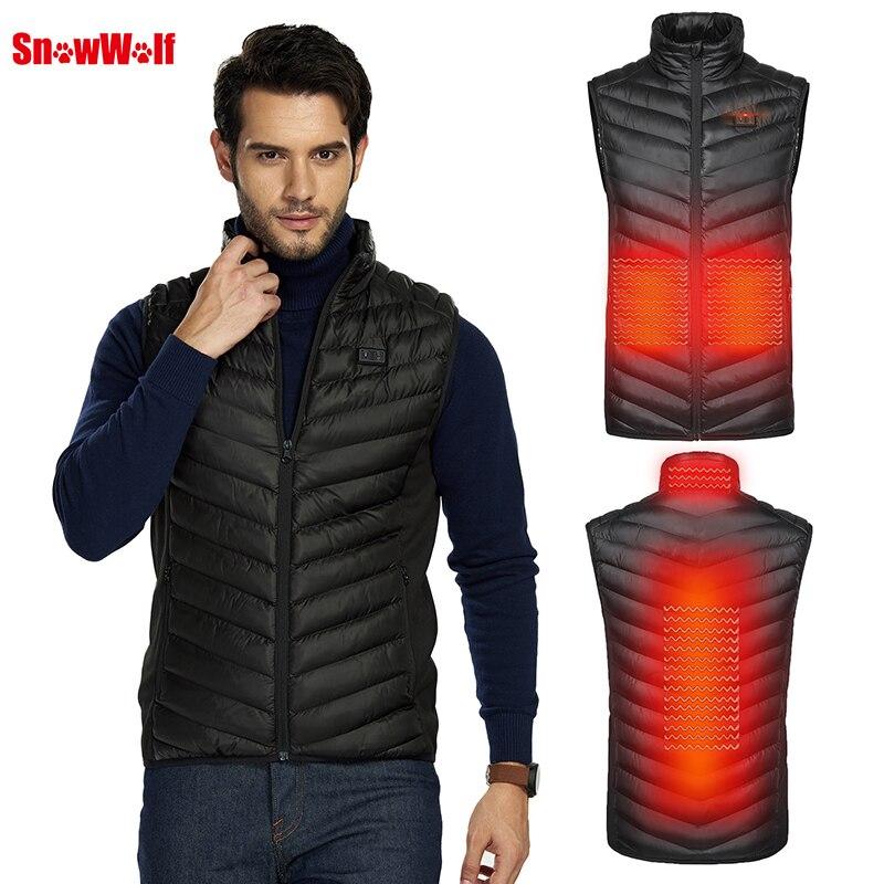 snowwolf 2019 homens ao ar livre usb infravermelho aquecimento colete jaqueta inverno fibra de carbono eletrico