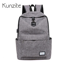 KUNZITE 16inch Men Laptop Backpacks Multifunction USB Charge Computer Backpacks Fashion Male Anti Theft Backpack Bags