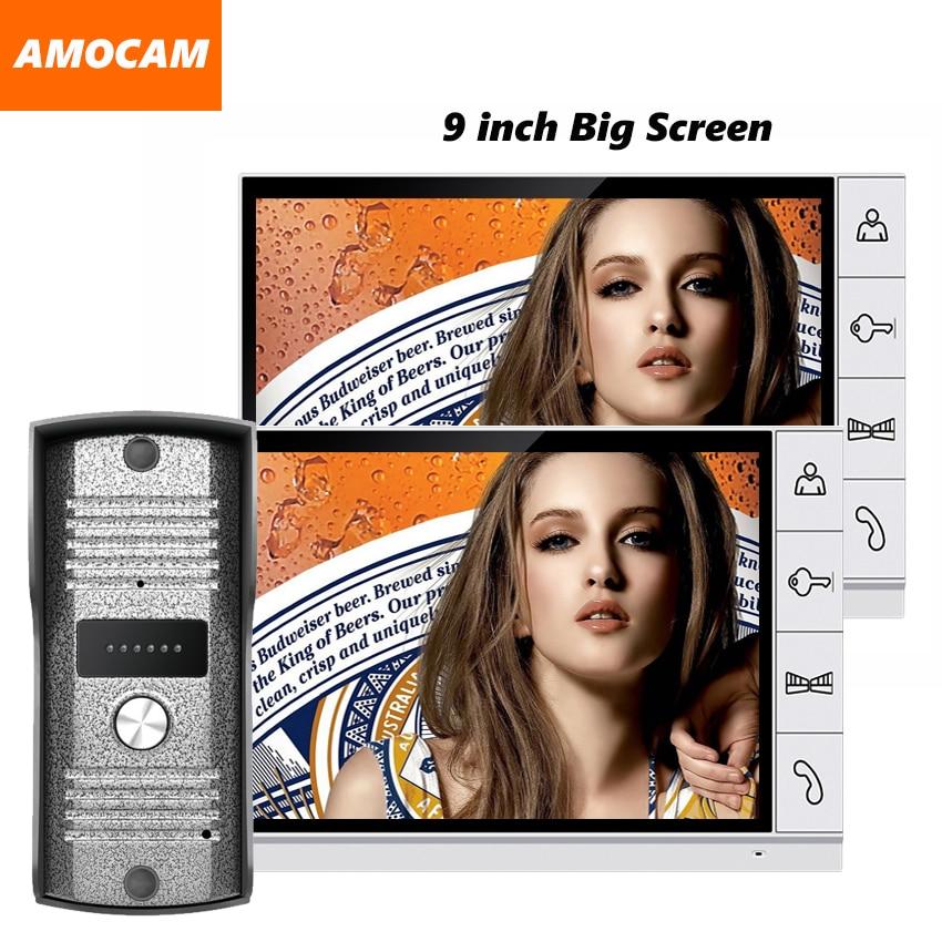 2017 New 9 inch screen color LCD video door phone intercom video doorbell intercom home intercom system door bell video 1V2 hsd100ifw2 john color new 10 inch lcd screen