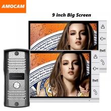 2017 New 9 inch screen color LCD video door phone intercom video doorbell intercom home intercom system door bell video 1V2
