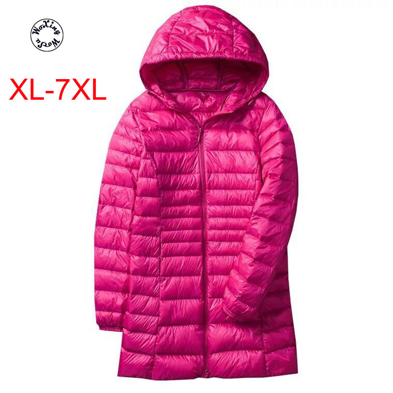 Woxingwosu hooded down caot  light and thin medium length down jacket female fat large code slim body jacket size XL to 7XL