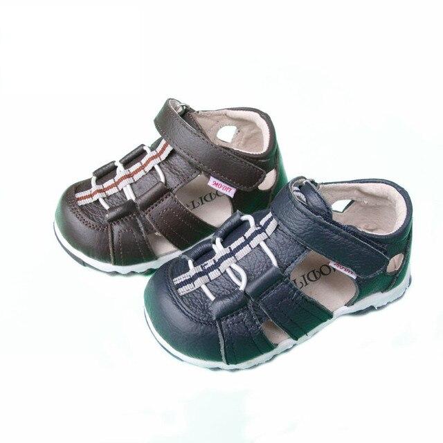 Бесплатная доставка крупного рогатого скота подлинные кожаные сандалии детская обувь пляжные мальчики девушка сандалии детям обувь non-slip сандалии