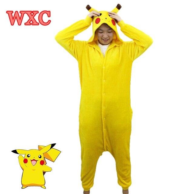 fd4ef3db98 Pikachu Cosplay Animal Hoodie Sleepwear Pajamas Adult Yellow Coral Fleece Unisex  Pikachu Onesie Cosplay Costume WXC