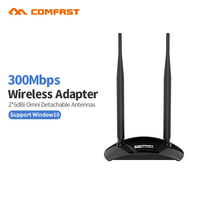 Powerful Wifi Adapter 300M Wifi Antenna 2 6dbi Support Windows10 802 11b G N USB Network