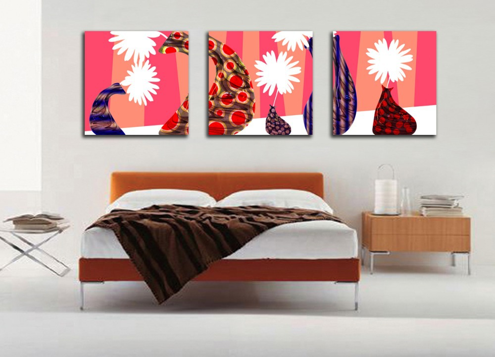 wholesale home decor dropshippers 3 pieces modern paintings on canvas abstract white flowers 11827