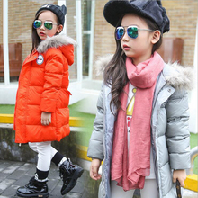 kids winter jacket for girls boys long design hooded down jacket duck down padded warm outerwear