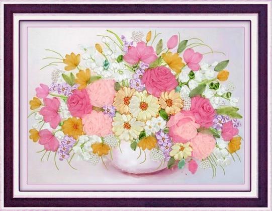 3d Rose Ribbon Embroidery Kit Flowers Bouquet Diy Handmade