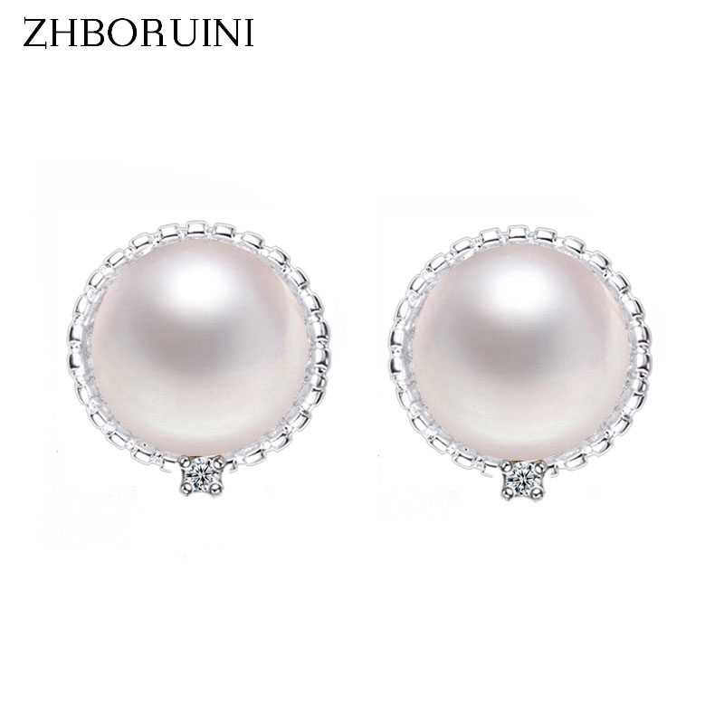ZHBORUINI 2019 Fashion Pearl Earrings Pearl Natural Freshwater Pearl 925 Sterling Silver Jewelry For Women Zircon Earring GiftZHBORUINI 2019 Fashion Pearl Earrings Pearl Natural Freshwater Pearl 925 Sterling Silver Jewelry For Women Zircon Earring Gift