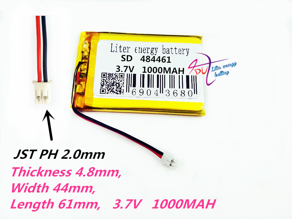 XHR-2P 2.0 484461 <font><b>3.7V</b></font> 1000MAH Lithium Polymer <font><b>Li</b></font>-Po <font><b>li</b></font> <font><b>ion</b></font> Rechargeable <font><b>Battery</b></font> cells For Mp3 MP4 MP5 GPS mobile bluetooth image