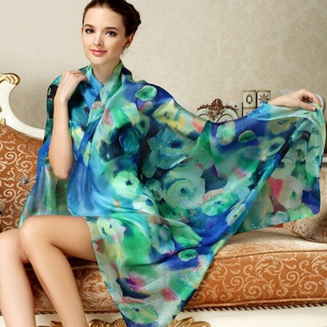 Women Long Silk Scarf Shawl Spring Autumn Female Silk Scarves Printed Summer 100% Mulberry Silk Beach Cover-ups 2017 175*110CM