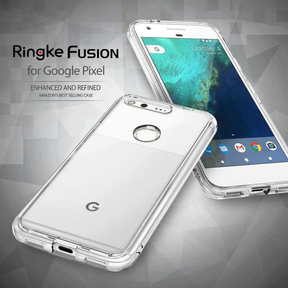 100% Original Google Pixel Case Ringke Fusion Series Crystal Back Panel + TPU Frame Dual Protection Cases for Google Pixel 2016