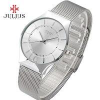 Julius для женщин часы топ известный бренд класса люкс повседневное кварцевые часы женские ультра тонкий наручные Relogio Feminino