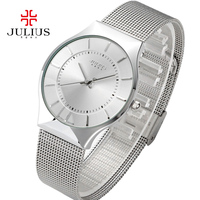 Men Women Watches Top Brand Julius Fashion Luxury Stainless Steel Couple Watch Quartz Ultra Thin Wristwatch