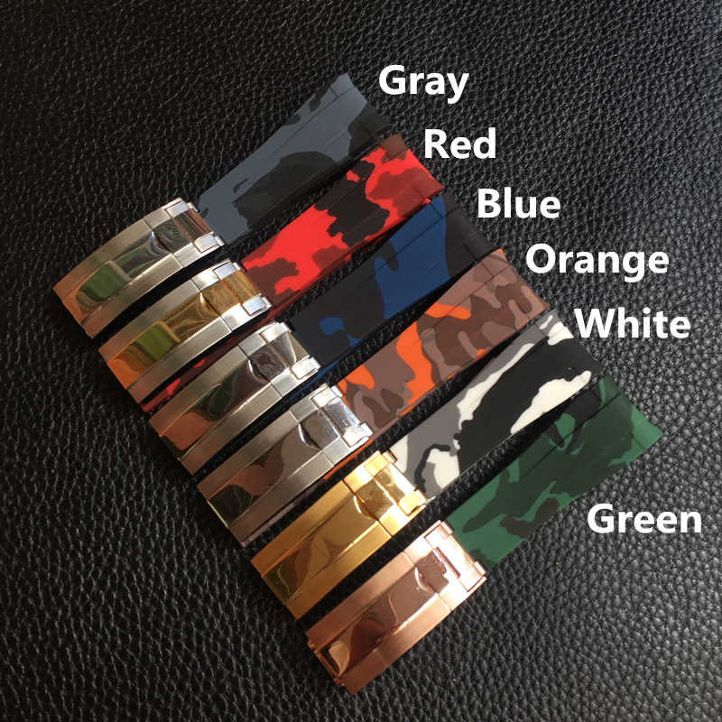 MERJUST Brand 20mm Camo Blue Red Gray Green White Rubber Watchband Watch Strap For ROLE RX Daytona Submarine Sub-mariner Belt