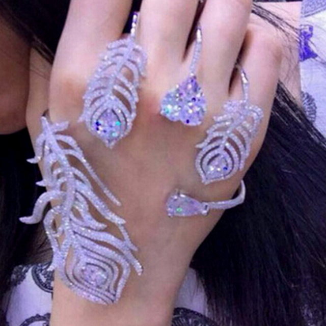 2016 Fashion Brand Luxury Cubic Zirconia Feather Palm Party Bangle High Quality Shiny statement Cuff Hand bride Bracelet