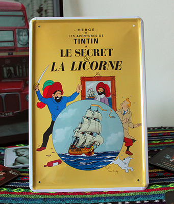 TINTIN LE SECRET Cartoon wall art decor Vintage home decor Pub signs Bar painting poster Tin signs metal plaques craft  20X30 CM