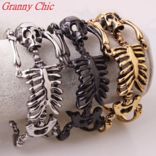 Granny Chic Big Skull Bones Bracelet Statement Gothic Jewelry Silver Gold Black Stainless Steel Skeleton Mens Rock Punk Bracelet