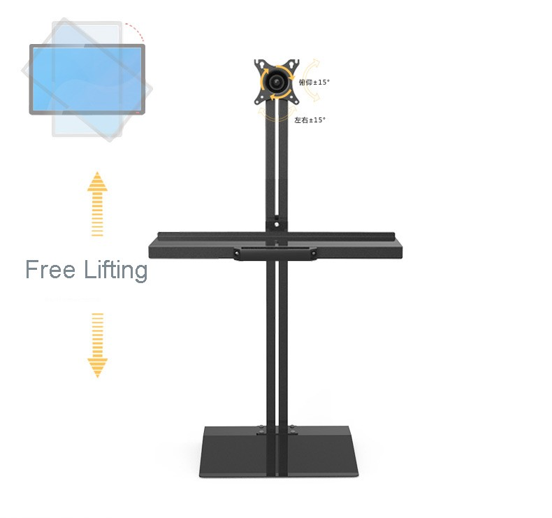 Customized Full Motion PS Stand Sit-Stand Workstation Desk Stand Monitor Keyboard Holder T9008