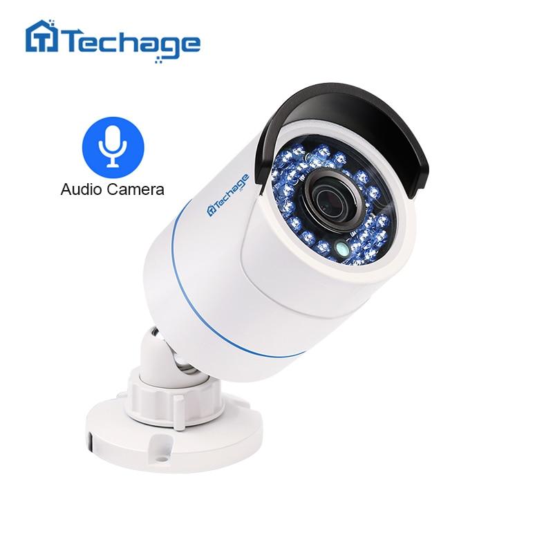 Techage HD 1080P 2.0MP Security CCTV POE IP Camera Audio Sound Record Waterproof Outdoor P2P Onvif Surveillance Bullet Camera