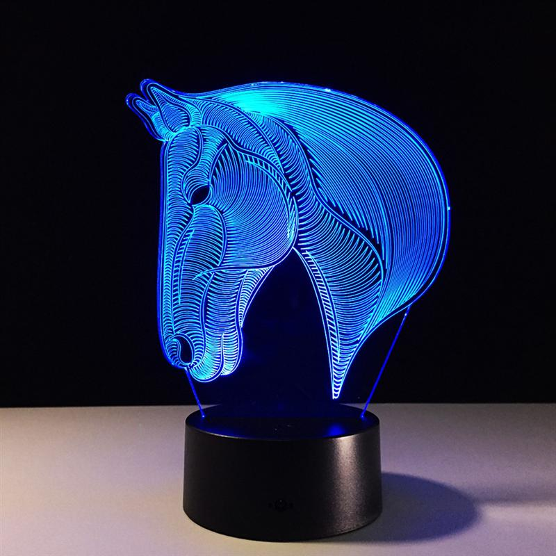 3D Table Lamp Creative Acrylic Horse Head LED Night Light Colorful Atmosphere Table Lamp for Home Bedroom Decoration new 3d table lamp creative acrylic mickey mouse led night light colorful atmosphere decoration table lamp for children iy803325