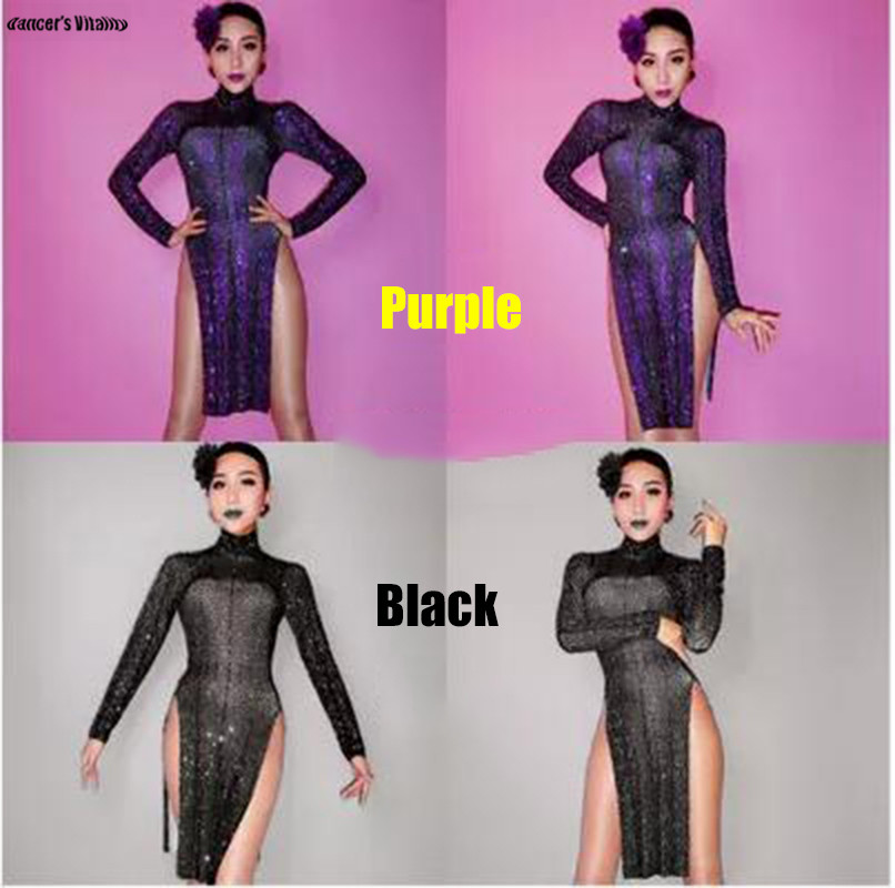 a79accd9a1 Female costume crystals sexy Jumpsuit bodysuit Black purple stone outfit  cute skirt singer dancer nightclub Stag Party Bar show