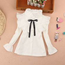 Girl's Shirt Long-sleeved 100% Cotton Blouse 2018 new Children's Mandarin Collar White shirt Child Flounce Shirt for 2-14 T Red цена 2017